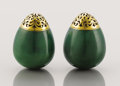 Decorative Arts, Continental:Other , A PAIR OF FABERGE RARE RUSSIAN GOLD-MOUNTED NEPHRITE SALT ANDPEPPER SHAKERS. Marked Fabergé, Workmaster Anders Nevalainen, ...
