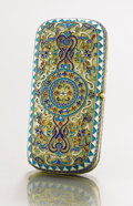 Decorative Arts, Continental:Other , A SILVER GILT AND CLOISONNÉ ENAMEL CIGARETTE CASE. IvanDimitriyevich Saltykov, circa 1887. Marks: AP over 1887,88 ...