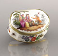 Ceramics & Porcelain, Russian, A PORCELAIN PAINTED JEWELRY BOX. Marks: unidentified. 1-1/4 x 3 x2-3/4 inches (3.2 x 7.6 x 7.0 cm). Interior of lid is ado...