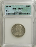 Bust Quarters: , 1833 25C VF30 ICG. B-1. NGC Census: (5/121). PCGS Population (7/95). Mintage: 156,000. Numismedia Wsl. Price for NGC/PCGS ...