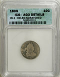 Early Dimes: , 1805 10C 4 Berries--Holed, Scratched--ICG. AG3 Details. JR-1. NGCCensus: (9/229). PCGS Population (12/288). Mintage: 120,...