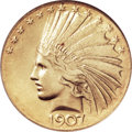 Indian Eagles, 1907 $10 Wire Rim MS62 ANACS....