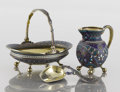 Silver Holloware, French:Holloware, A RUSSIAN SILVER GILT AND CLOISONNÉ SUGAR BOWL, SUGAR SCOOP ANDCREAM JUG. Anton Kuzmichev, Moscow, Russia, circa 1890. Mar...(Total: 3 Items)