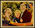"Movie Posters:Adventure, When Lightning Strikes (William Steiner, 1934). Lobby Card (11"" X14""). Adventure...."