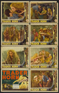 "Movie Posters:Adventure, Trader Horn (MGM, R-1938). Lobby Card Set of 8 (11"" X 14"").Adventure.... (Total: 8 Items)"