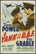 "Movie Posters:War, A Yank in the R.A.F. (20th Century Fox, 1941). One Sheet (27"" X 41"") Style B. War...."