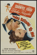 """Movie Posters:Romance, You Belong to Me (Columbia, 1941). One Sheet (27"""" X 41""""). Romance...."""