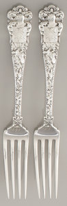 Silver & Vertu:Flatware, A SET OF TWO AMERICAN SILVER DINNER FORKS. Tiffany & Co., New York, New York, circa 1884. Marks: TIFFANY & CO., STERLING...