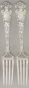 Silver Flatware, American:Tiffany, A SET OF TWO AMERICAN SILVER DINNER FORKS. Tiffany & Co., NewYork, New York, circa 1884. Marks: TIFFANY & CO.,STERLING... (Total: 2 Items)
