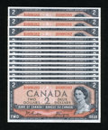 Canadian Currency: , BC-38a $2 1954 Fourteen Consecutive Examples.. ... (Total: 14notes)