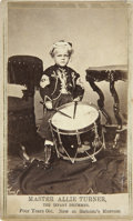 Military & Patriotic:Civil War, Civil War Period CDV of Master Allie Turner, the Infant Drummer. The infant drummer, Master Allie Turner, as he appeared at ...