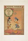 Memorabilia:Disney, Disney Character Special Newspaper Comics Section Illustration, dated 12-20-36 (Daily Mirror, 1936)....