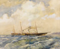 Fine Art - Work on Paper:Watercolor, ALEKSANDROVSKI (Russian, 19th Century). Ship at Sea -an Imperial Yacht, 1866. Watercolor on paper. 14-1/2 x 17-3/4 inche...