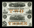 Obsoletes By State:Iowa, Dubuque, IA- Lumberman's Bank $2 and $3 Sept. 1, 1857 Oakes 55-2aand Oakes 55-3a. This remainder pair is brightly colored, ...