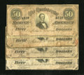 Confederate Notes:1864 Issues, T66 $50 1864 Four Examples. Here we see a VG with moisture stain; Fine, edge wear; VF, stains; and VF with s... (Total: 4 notes)