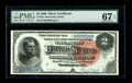 Large Size:Silver Certificates, Fr. 242 $2 1886 Silver Certificate PMG Superb Gem Unc 67 EPQ. Fr.242 is a note that comes quite nice due to two runs of unc...