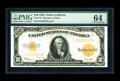 Large Size:Gold Certificates, Fr. 1173 $10 1922 Gold Certificate PMG Choice Uncirculated 64. Thecolor is terrific on this $10 Gold. The original embossin...