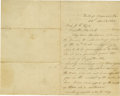 "Autographs:Statesmen, Jefferson Davis Autograph Letter Signed, Written From his Prison Cell in Fort Monroe. 2 pages, 5"" x 7.75"", ""Fortress Monro..."