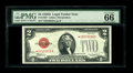 Small Size:Legal Tender Notes, Fr. 1505* $2 1928D Mule Legal Tender Note. PMG Gem Uncirculated 66 EPQ.. Micro back check number 279 can be seen on the back...