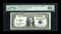 Small Size:Silver Certificates, Fr. 1610 $1 1935A S Silver Certificate. PMG Choice Uncirculated 64 EPQ.. Due to the tight bottom right this note just misses...