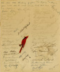 Autographs:Others, 1949 St. Louis Cardinals Team Signed Get Well Card to GabbyStreet....