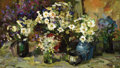 Fine Art - Painting, Russian:Modern (1900-1949), MEVSKI (Russian, 20th Century). Flower Bouquets with Pot,1923. Oil on canvas. 23-1/2 x 47-1/2 inches (59.7 x 120.7 cm)...
