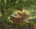 Fine Art - Painting, Russian:Contemporary (1950 to present), ALEXANDER LYUBIMOV (Russian, 1879-1955). Motherhood, 1950. Oil on canvas. 26-1/2 x 33-1/2 inches (67.3 x 85.1 cm). Signe...