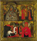 Other, A RUSSIAN ICON WITH FOUR SCENES. late 18th century. 12-1/2 x 11-1/2inches (31.8 x 29.2 cm). ...