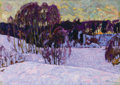 Paintings, NIKOLAI EFIMOVICH TIMKOV (Russian, 1912-1993). Winter Sunset, 1965. Oil on artist board. 14-3/4 x 20-1/2 inches (37.5 x ...