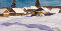 Fine Art - Painting, Russian:Modern (1900-1949), IGOR GRABAR (Russian, 1871-1960). Winter Village, 1924. Oilon canvas laid on board. 9-1/4 x 17-1/2 inches (23.5 x 44.5 ...