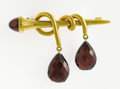 Paintings, A GARNET AND GOLD BROOCH. Samuel Arnd, St, Petersburg. 2-1/8 x 1-1/2 inches (5.4 x 3.8 cm). 17.10 grams . Briolette-cut Garn...