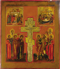 Other, A RUSSIAN ICON OF CRUCIFIXION WITH TWO SCENES FROM THE STATIONS OFTHE CROSS. 19th century. 17-3/4 x 15-1/2 inches (45.1 x 3...
