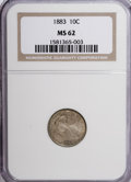 Seated Dimes: , 1883 10C MS62 NGC. NGC Census: (35/298). PCGS Population (54/324).Mintage: 7,674,673. Numismedia Wsl. Price for NGC/PCGS c...