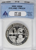 2000 1000K Iceland Proof PR69 Deep Cameo ANACS. NGC Census: (0/0). PCGS Population (0/0). (#661000)...(PCGS# 89785)