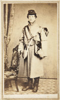 Military & Patriotic:Civil War, Great CDV View of a Young Federal Infantryman. Wears overcoat, bummer's cap with visor turned up and high boots. M1858 smoot...
