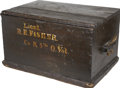 "Military & Patriotic:Civil War, Civil War Officer's Pine Wood Campaign Trunk Used by ""Lieut./R. E. Fisher/ Co. K 5th O. Vol."". The name is in 1 3/8"" high le..."