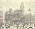 Fine Art - Painting, American:Contemporary   (1950 to present)  , GUY CARLETON WIGGINS (American, 1883-1962). Union Square,Winter. Oil on canvas. 25 x 30 inches (63.5 x 76.2 cm).Signed...