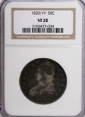Bust Half Dollars: , 1820/19 50C Square Base 2 VF20 NGC. NGC Census: (2/134). PCGSPopulation (1/84). Numismedia Wsl. Price for NGC/PCGS coin i...