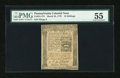 Colonial Notes:Pennsylvania, Pennsylvania March 25, 1775 16s PMG About Uncirculated 55....