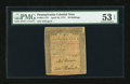Colonial Notes:Pennsylvania, Pennsylvania April 10, 1775 50s PMG About Uncirculated 53 EPQ....