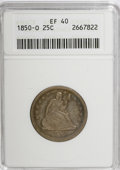 Seated Quarters: , 1850-O 25C XF40 ANACS. NGC Census: (2/43). PCGS Population (3/40).Mintage: 412,000. Numismedia Wsl. Price for NGC/PCGS coi...
