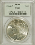 Peace Dollars: , 1934-D $1 MS61 PCGS. PCGS Population (151/3469). NGC Census:(247/2450). Mintage: 1,569,500. Numismedia Wsl. Price for NGC/...
