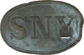 Military & Patriotic:Civil War, Bullet-Struck State of New York Oval Waist Belt Plate. Strike appears to be a straight on hit from a .58 caliber bullet, at ...