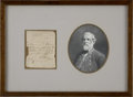 "Autographs:Military Figures, Robert E. Lee Partial Autograph Document Signed ""R E Lee Genl"" Framed with Lithograph Portrait. September 9, 186..."