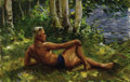 Fine Art - Painting, Russian, NICHOLAS B. HARITONOFF (American, 1880-1944). Bather. Oil oncanvas. 17-1/2 x 27 inches (44.5 x 68.6 cm). Signed lower r...