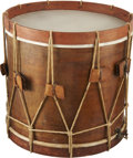"Military & Patriotic:Civil War, Classic Regulation Style Company Grade Civil War Infantry Snare Drum. 16½"" high, 16"" diameter. Maple body excellent with jus..."