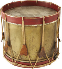 Most rare, probably imported, brass body Civil War infantry drum, inscribed on the body in period script engraving, &quo...