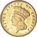 Three Dollar Gold Pieces, 1868 $3 MS63 PCGS....