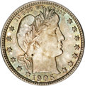 Barber Quarters, 1905 25C MS66 PCGS. CAC....