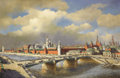Fine Art - Painting, Russian, RUSSIAN SCHOOL (late 19th Century - early 20th Century).Kremlin. Oil on canvas. 31 x 47 inches (78.7 x 119.4 cm).Initi...